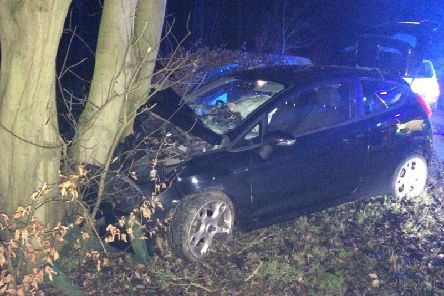 North Yorkshire Police tweeted this image of the crashed car.