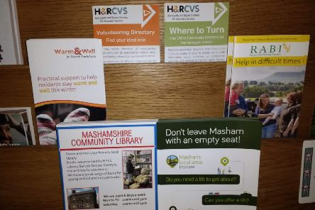 Up to date and valuable community information on display at Masham Church.