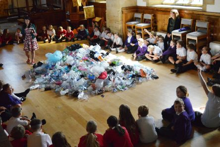 Fylingdales and Hawsker Federation pupils are pictured with their pile of plastic.