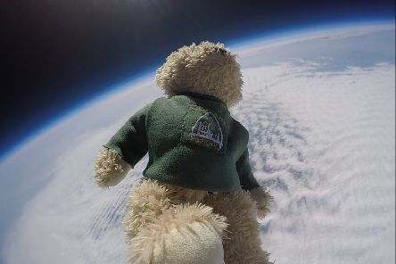 Tiny Bear hurtled off into space following the successful blast-off from Airy Hill School launch pad.