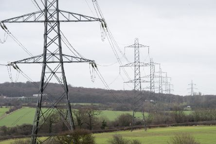 Electricity pylons and a transfer station