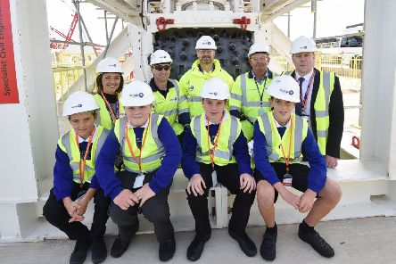 Sleights School students and staff at the unveiling of the drill at  Sirius Minerals' Woodsmith Mine site, in September. PIcture: Richard Ponter