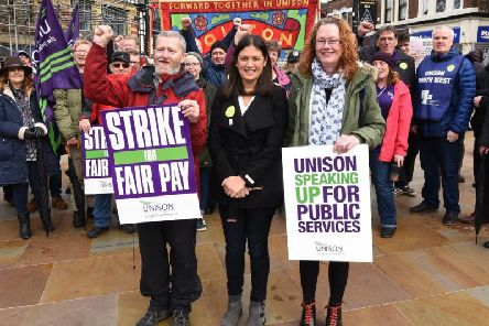 Wigan MP Lisa Nandy, centre, shows her support at rally supporting striking drug and alcohol support workers from Addaction, at Market Place, Wigan