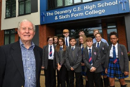 Holocaust survivor Harry Kessler pictured with Year Nine pupils at The Deanery High School, Wigan