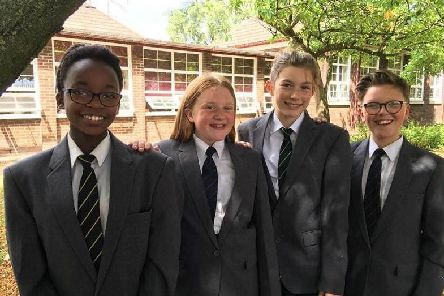 Year 9 pupils pictured are Luana, Chloe, Scarlett and Ross