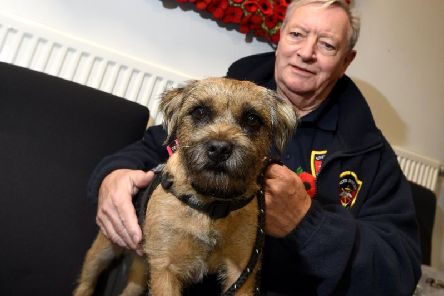 Veteran Mike Mills, pictured with his therapy dog, will visit GP surgeries as part of the scheme