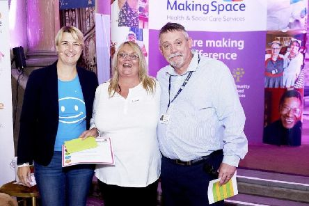 Awards host Jo Howarth, Susan Shannon and Peter Dillon, executive director of quality assurance and compliance at Making Space
