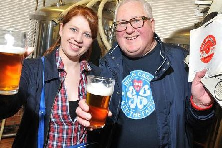 Wigan CAMRA members, Jo Ashton, left, and Brian Gleave, at the launch of the 32nd Wigan Beer Festival