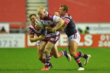 Liam Farrell playing during the World Club Challenge