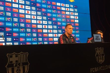 Adrian Lam speaks to the media at Camp Nou