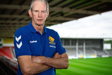 Wayne Bennett at a media conference in St Helens. Picture: SWPix