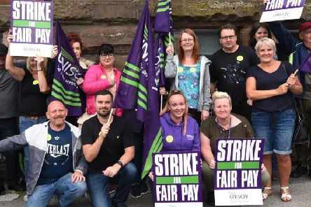 Addaction workers and Unison members on the picket line outside Coops Building