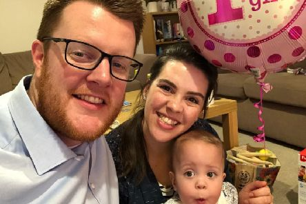Rob abd Jennie Henderson with their daughter Sophie on her first birthday