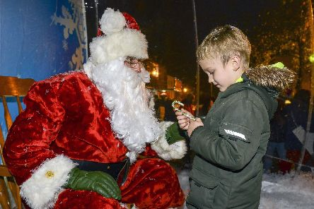 Christmas lights switch on 2018. Andrej Velgans meets Santa. Picture Scott Merrylees