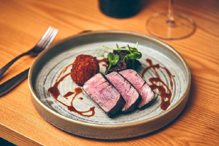 Beef fillet with glazed short rib and cauliflower cheese.