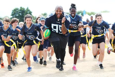NFL London Games' player Jurrell Casey (Tennessee Titans) pictured at the NFL Flag Summer Bowl finale, presented by Subway, celebrate the 2017-2018 tournaments, played by over 10,000 kids across the UK. Schools