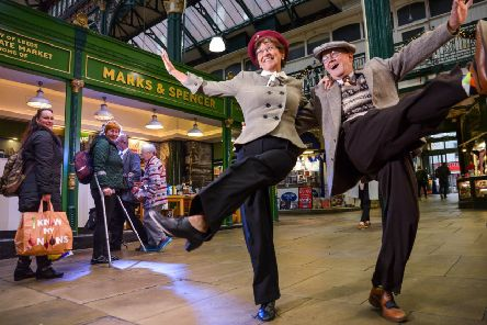 M&S ARCHIVE 1940's Swing Dancers Linda and Roger Briggs from Halifax, celebrate their Ruby (40th) Anniversary with a Swing Dance at Leeds Indoor Market