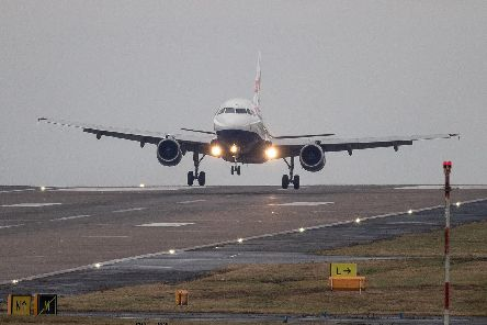 A British Airways flight from London Heathrow lands in crosswinds during a storm at Leeds Bradford Airport earlier this month