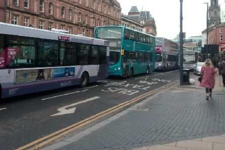 Heavy traffic in Leeds city centre after a car has broken down.