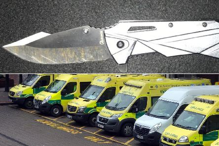 NHS data has revealed that admissions to Leeds hospitals for patients with stab wounds has risen by 40 per cent.'Top: A knife recently confiscated by West Yorkshire Police