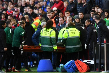 Leeds United winger Jack Clarke is carried on a stretcher from Middlesbrough's stadium after collapsing in the second half.