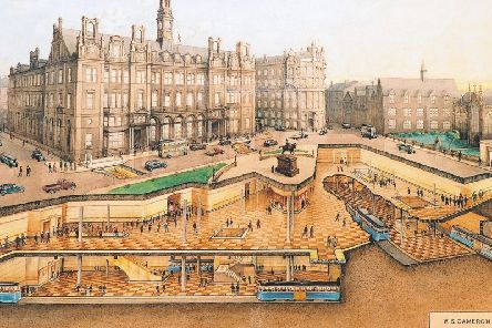 The subway station planned for City Square, with the old Post Office building in the background (National Tramway Museum)