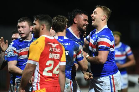 Wakefield's David Fifita beams after scoring against Catalans Dragons as Trinity won their first Super League match of the season (Picture: Jonathan Gawthorpe).