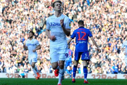 Leeds United striker Patrick Bamford celebrates his opener at Elland Road.