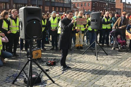 Leeds North West MP Alex Sobel gave an impassioned speech at a youth protest against climate change on Friday, March 15.