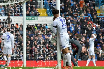 AGONY: Another Leeds United chance goes begging for Tyler Roberts who was unlucky to hit the post.
