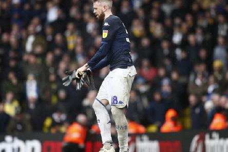 Leeds United defender Pontus Jansson taking the gloves during Saturday's 1-0 defeat to Sheffield United after the dismissal of Kiko Casilla.