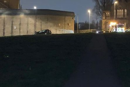 The car crashed into the wall at HMP Leeds (Photo: Scott Francis)