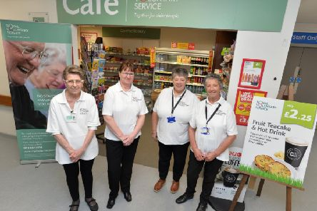 Royal Voluntary Service volunteers at Seacroft Hospital cafe. Pictured are Brenda Newton, Pamela Hardaker, Kathryn Mooney and Sandra Asquith. 'Picture: Bruce Rollinson