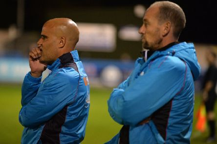Guiseley joint managers Marcus Bignot and Russ O'Neill.