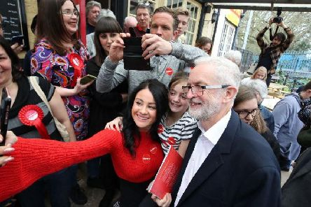 Rosa Gatta and daughter Millie Sordillo has a picture taken with Labour leader Jeremy Corbyn after he spoke to party members in the Red Lion, Winsford while on the local election campaign trail.