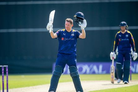 Yorkshire's Gary Ballance celebrates his century against Leicestershire. Picture:  Allan McKenzie/SWpix.com