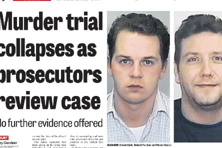 Dennis Slade, pictured left, and Michael Baxter pictured in the Yorkshire Evening Post coverage of the collapse their 2015 re-trial.