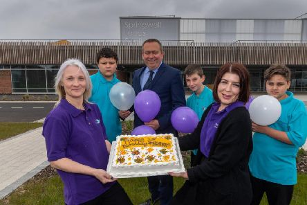 Springwell Academy celebrating their first birthday. Pictured (left to right) Mandy Teale, Care Team, Konneur Dooley, Scott Jacques, Executive Principal of Springwell Academy, Kieran Dixon, January Boci, Teaching Assistant, and Callum Wilkinson.