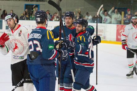 GB's players celebrate one of their goals in the 3-1 win over Hungary in Milton Keynes on Sunday. Picture: Tony Sargent/IHUK