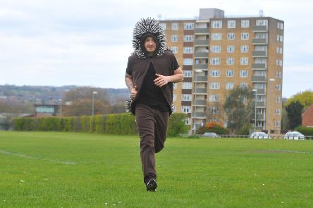 Peter Benefer from West Park, Leeds set to run two laps of the Leeds Half Marathon (to complete marathon distance) dressed as a hedgehog to raise awareness and funds for HERBY, (Hedgehog Emergency Rescue Bingley)