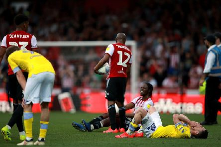 MISERY: For Leeds United at Brentford.