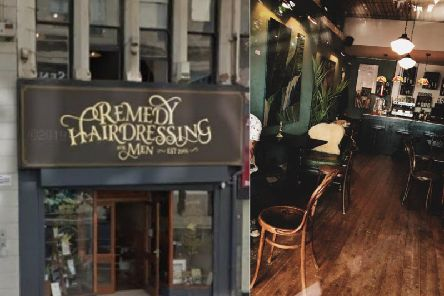 Remedy in Leeds city centre. Left: Remedy barbershop. Right, inside Remedy bar, which is open and trading as normal
