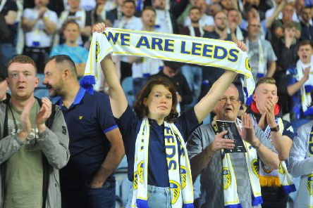 Leeds United fans show their support during the play-off semi-final second leg against Derby County. Picture: Tony Johnson.