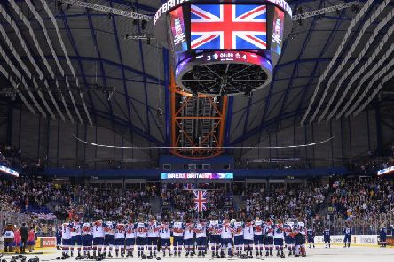 HEROES: Great Britsain'splayers line-up for the national anthem after beating France. Picture: Dean Woolley.