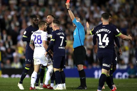 Leeds United defender Gaetano Berardi sees red against Derby County.