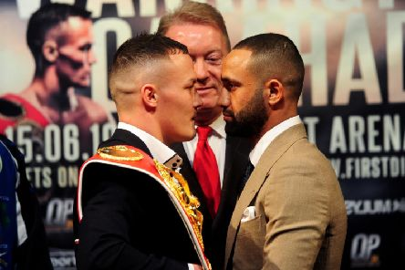 Josh Warrington (L) faces off with Kid Galahad (R).