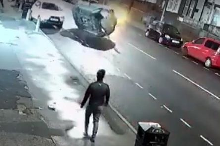 Moment car is sent flipping in terrifying collision on Harehills Lane