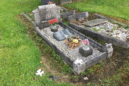 Damage caused to Alison Myers' family grave by Leeds City Council grasscutters
