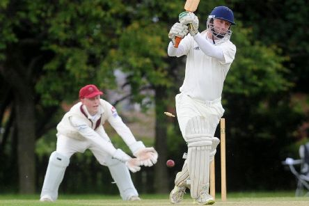 Andrew Stolarski was last man out for Pudsey Congs, bowled by Morley's Henry Rush for one run. PIC: Steve Riding