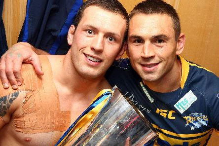 Shaun Lunt, left, with Kevin Sinfield after winning the 2012 Grand Final with Leeds Rhinos (SWPix)